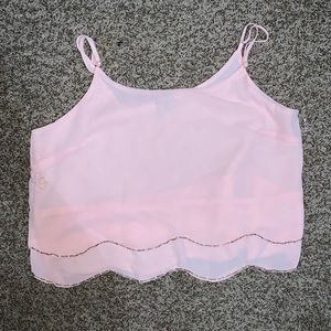 Pink crop top blouse